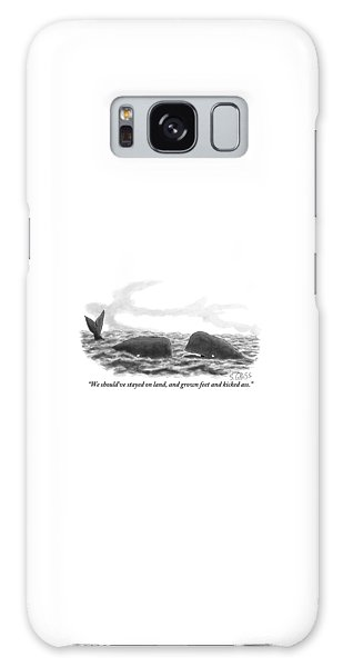 Two Whales Are Seen In Water In Conversation Galaxy Case