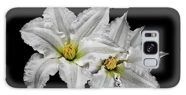 Two White Clematis Flowers On Black Galaxy Case by Jane McIlroy