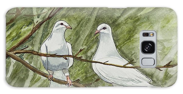 Two White Doves Galaxy Case