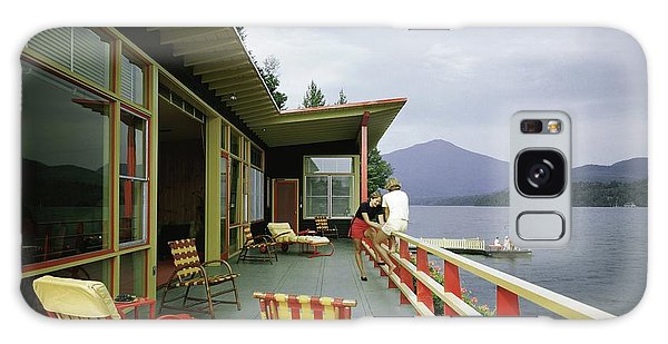 Two Women On The Deck Of A House On A Lake Galaxy Case