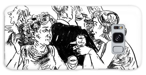 Two Women Sitting At A Table With Wine Glasses Galaxy Case