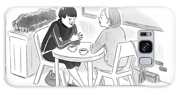 Two Women Speaking At A Coffee Shop Table Galaxy Case