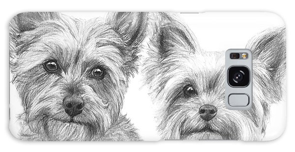 Two Yorkshire Terriers In Charcoal Galaxy Case