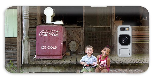 Two Young Children Pose On The Steps Of A Historic Cabin In Rural Alabama Galaxy Case by Carol M Highsmith