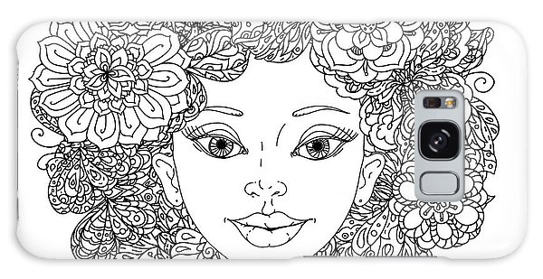White Galaxy Case - Uncolored Girlish Face For Adult by Mashabr