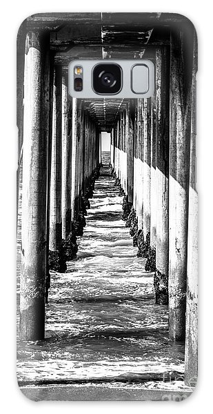 Under Huntington Beach Pier Black And White Picture Galaxy Case