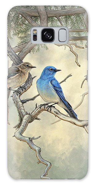 Bluebird Galaxy Case - Under The Old Juniper-mountain Bluebirds by Paul Krapf