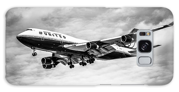 Airplane Galaxy Case - United Airlines Airplane In Black And White by Paul Velgos