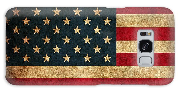 Usa Galaxy Case - United States American Usa Flag Vintage Distressed Finish On Worn Canvas by Design Turnpike