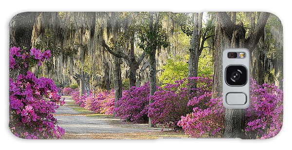 Unpaved Road With Azaleas And Oaks Galaxy Case