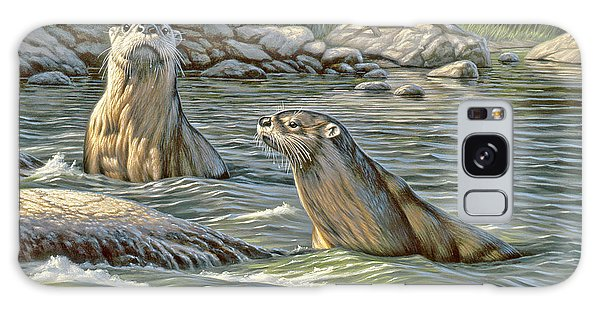 Otter Galaxy S8 Case - Up For Air - River Otters by Paul Krapf