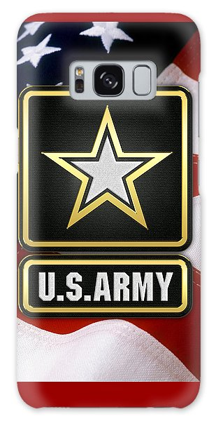 U. S. Army Logo Over American Flag. Galaxy Case by Serge Averbukh