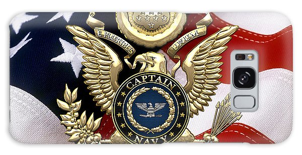U. S.  Navy Captain - C A P T  Rank Insignia Over Gold Great Seal Eagle And Flag Galaxy Case