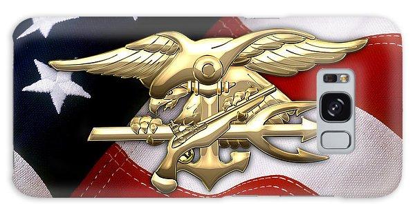 U. S. Navy S E A Ls Emblem Over American Flag Galaxy Case