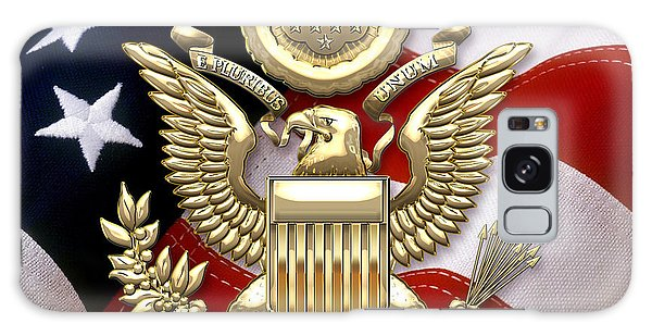 U. S. A. Great Seal In Gold Over American Flag  Galaxy Case