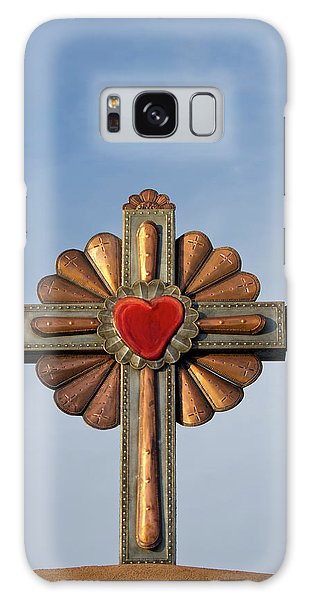 Sacred Heart Galaxy Case - Usa, New Mexico, Chimayo, Gilded Cross by Luc Novovitch