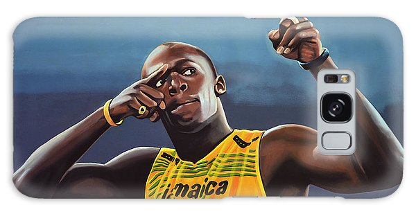 Usain Bolt Painting Galaxy Case by Paul Meijering