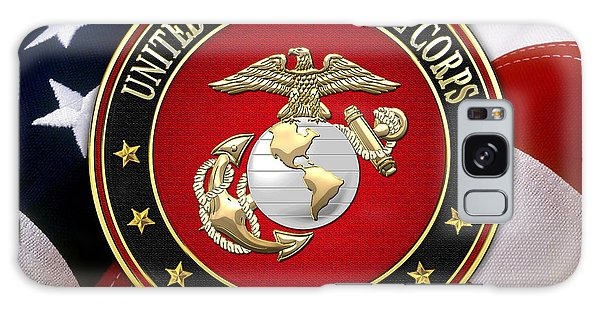 U S M C Eagle Globe And Anchor - E G A Over American Flag. Galaxy Case