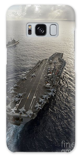 Galaxy Case featuring the photograph Uss George Washington And Uss Mobile by Stocktrek Images