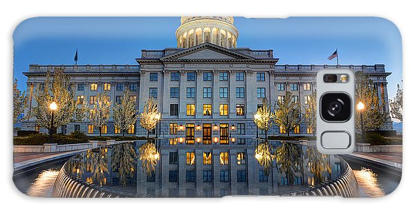 Utah State Capitol In Reflecting Fountain At Dusk Galaxy Case
