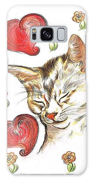 Valentine Cat Galaxy Case by Teresa White