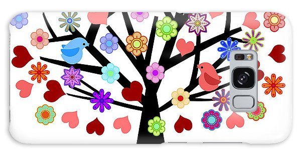 Valentines Day Tree With Love Birds Hearts Flowers Galaxy Case