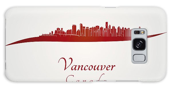Vancouver City Galaxy Case - Vancouver Skyline In Red by Pablo Romero