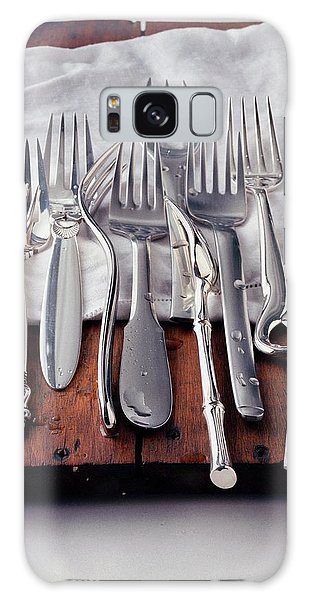 Various Forks On A Wooden Board Galaxy Case