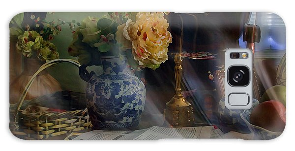 Blue Vase And Flowers  Galaxy Case