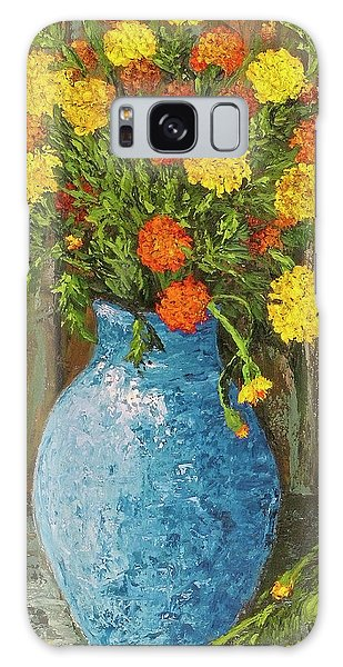Vase Of Marigolds Galaxy Case