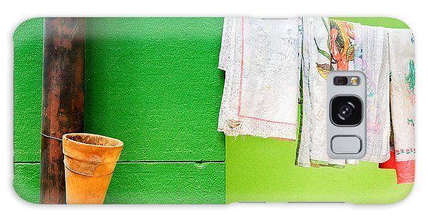 Colorful Galaxy Case - Vase Towels And Green Wall by Silvia Ganora