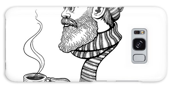 Scarf Galaxy Case - Vector Black And White Bearded Man With by Julia Waller