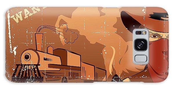 Horizontal Galaxy Case - Vector Cowboy And Train. Western Grunge by Tancha
