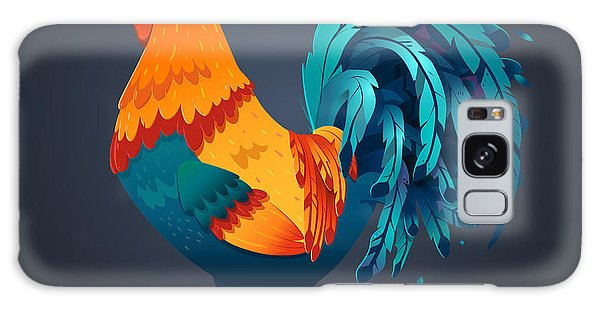 Realistic Galaxy Case - Vector Illustration Bright Rooster On A by Fay Francevna