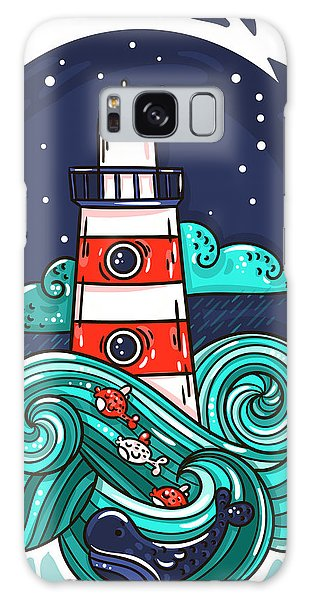 Beam Galaxy Case - Vector Illustration Lighthouse In Storm by Evasabrekova