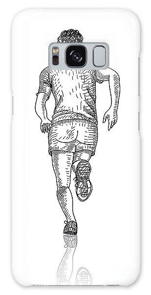 Active Galaxy Case - Vector Sketch Of Man Runs Into The by Farferros