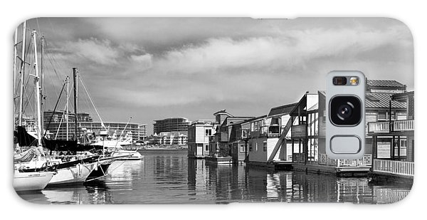 Veiw Of Marina In Victoria British Columbia Black And White Galaxy Case
