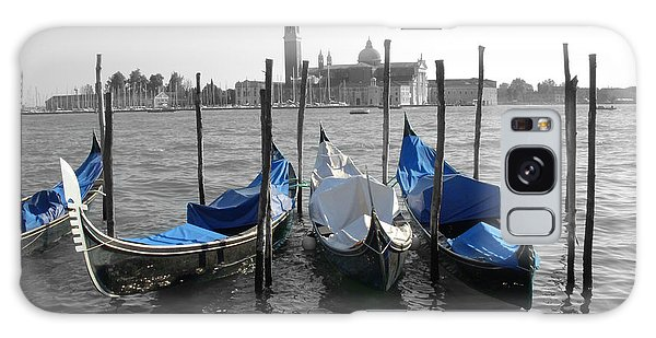 Venice Italy Boats In Black And Blue Galaxy Case