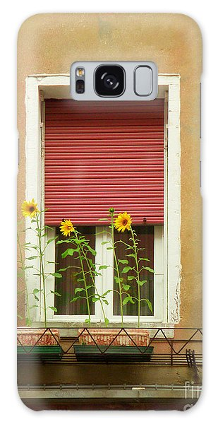 Venice Italy Yellow Flowers Red Shutter Galaxy Case