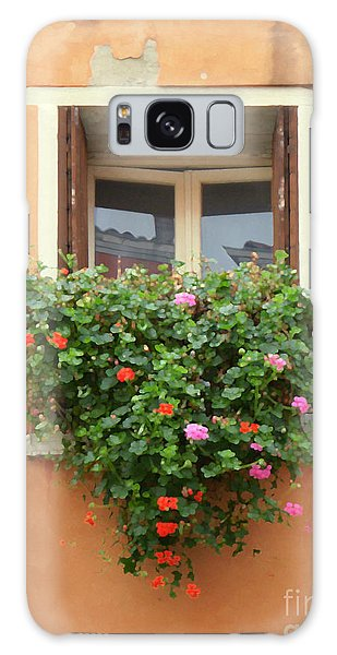 Venice Shutters Flowers Orange Wall Galaxy Case