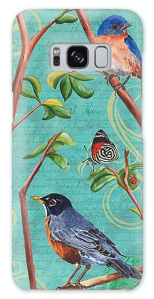 Bluebird Galaxy Case - Verdigris Songbirds 1 by Debbie DeWitt