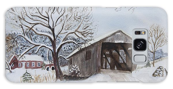 Vermont Covered Bridge In Winter Galaxy Case