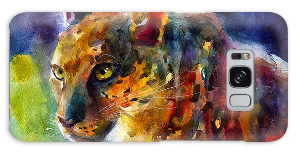 Watercolor Pet Portraits Galaxy Case - Vibrant Watercolor Leopard Wildlife Painting by Svetlana Novikova