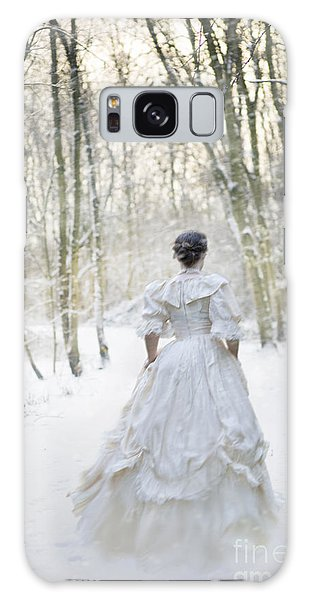 Victorian Woman Running Through A Winter Woodland With Fallen Sn Galaxy Case