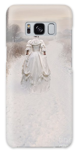 Victorian Woman Walking Through A Winter Meadow Galaxy Case by Lee Avison