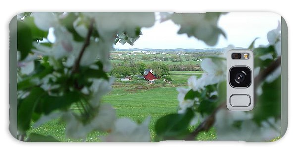 View Through Apple Blossoms Galaxy Case by Patricia Overmoyer