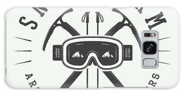 Alaska Galaxy Case - Vintage Arctic Mountaineering Logo by Akimd