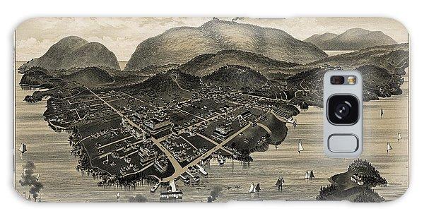 Vintage Bar Harbor Map Galaxy Case
