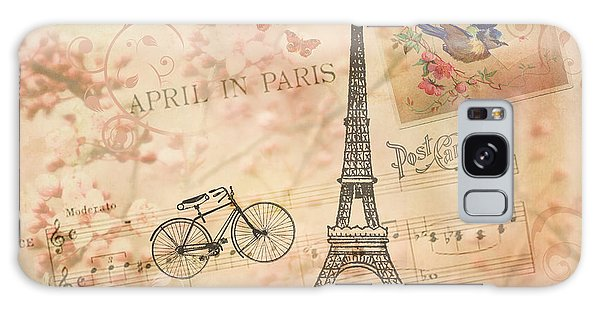 Vintage Bicycle And Eiffel Tower Galaxy Case by Peggy Collins
