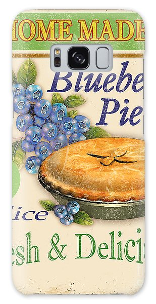 Vintage Blueberry Pie Sign Galaxy Case by Jean Plout